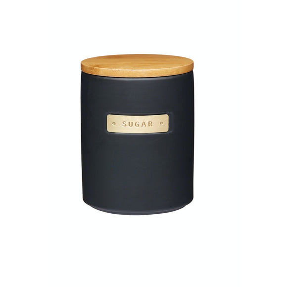 MasterClass Stoneware and Brass Effect Sugar Container with Airtight Bamboo Lid
