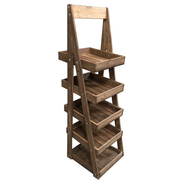 Ligneus Mobile Rustic 5-Tier Slanted Wooden A-Frame Display Stand 486x530x1765