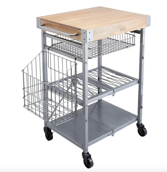 Folding Kitchen Trolley with Mango Wood Butcher's Block