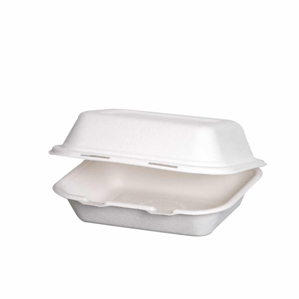 Compostable Bagasse 8×6″ Rectangular Clamshell- 27oz / 800ml