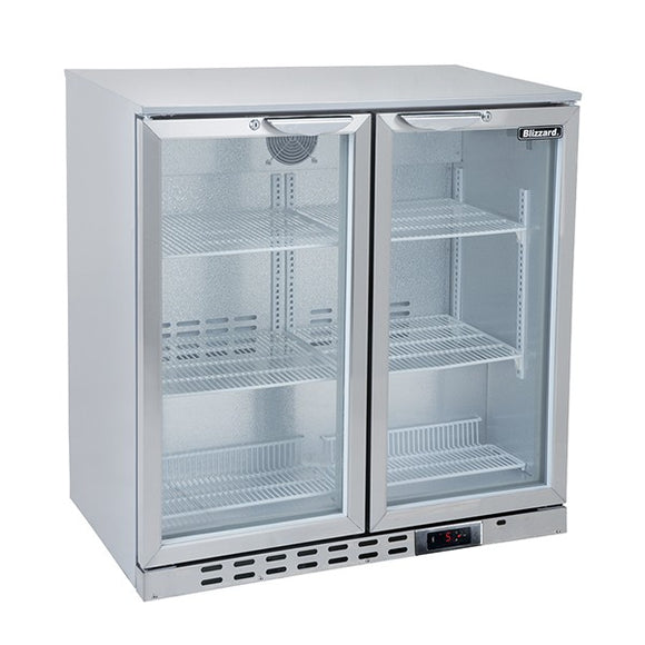Blizzard Double Door S/S Bar Bottle Cooler (182 Bottles)