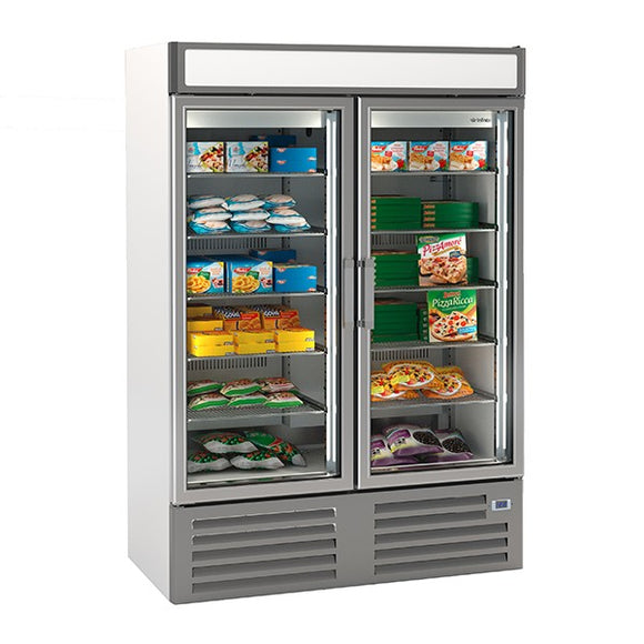 Infrico Double Glass Door Freezer Merchandiser 1000L