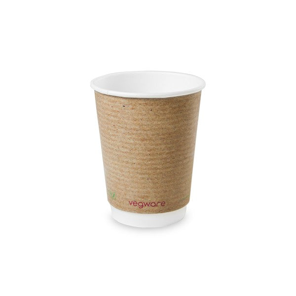 Vegware 89 Series 12oz Double Wall Brown Kraft Cup