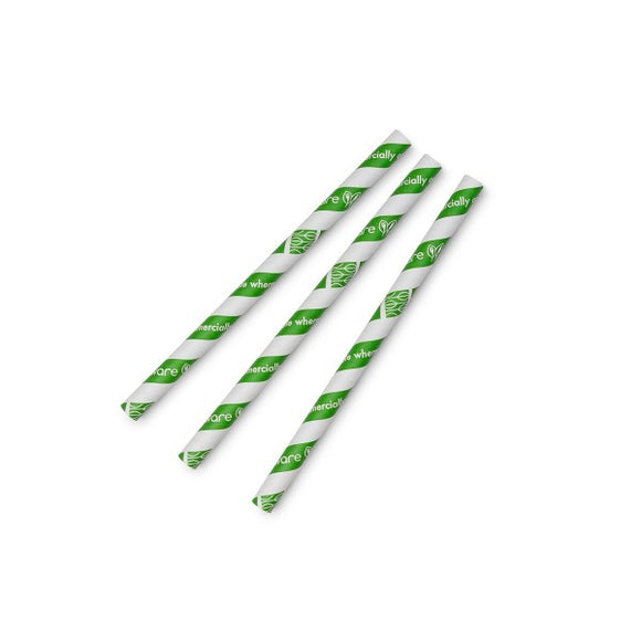 Jumbissimo green stripe 10mm paper straw, 7.8in (Case Size 1600)