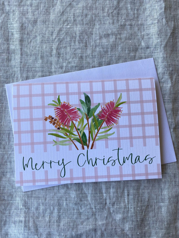 Merry Christmas Banksia A6 Card - Pink Gingham