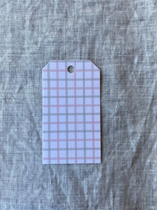Grey & Pink Gingham Gift Tag