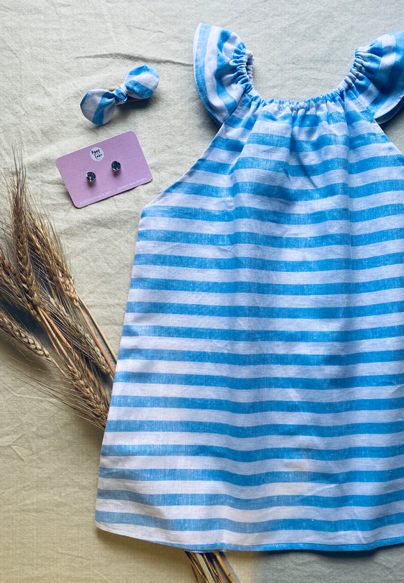 Blue Stripe Peasant Dress