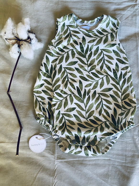 Organic Cotton Bubble Onesie - Olive Leaf