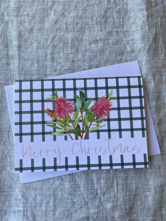 Merry Christmas Banksia A6 Card - Black Gingham