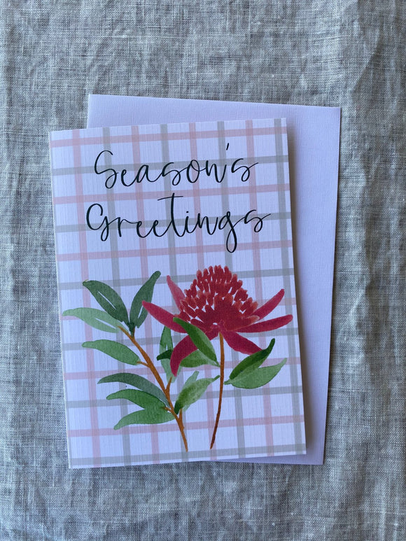 Seasons Greetings Waratah A6 Card