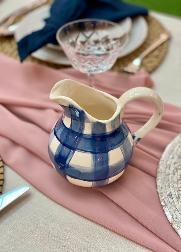 Small Jug - Gingham in Cobalt