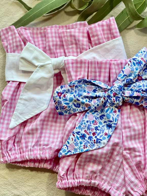Paper Bag Bloomers - Pink Gingham with Blue Floral Sash