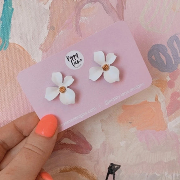 Small Floral Earrings - White