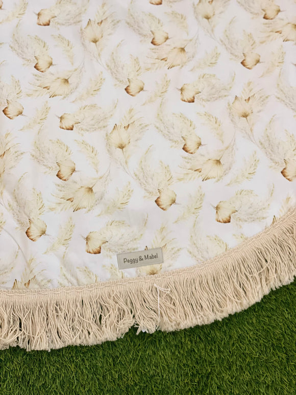 Large Round Baby Play Mat - Cream Floral