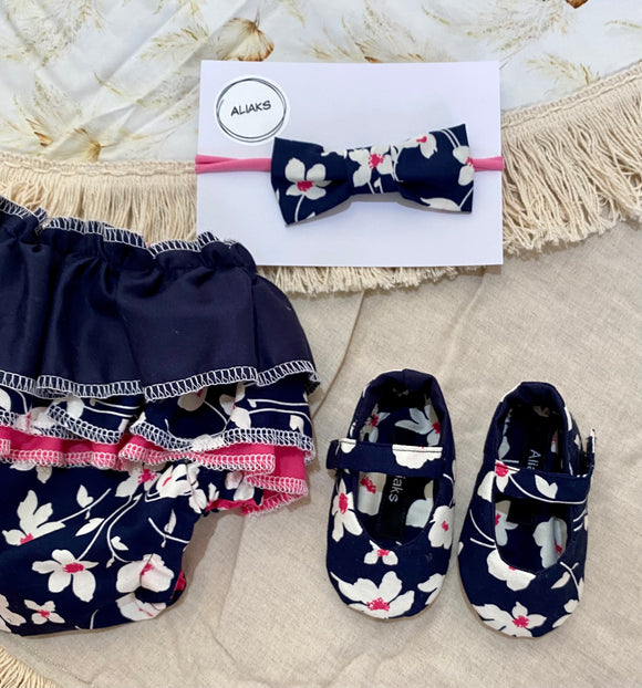 Baby Frill Set - Navy Flowers