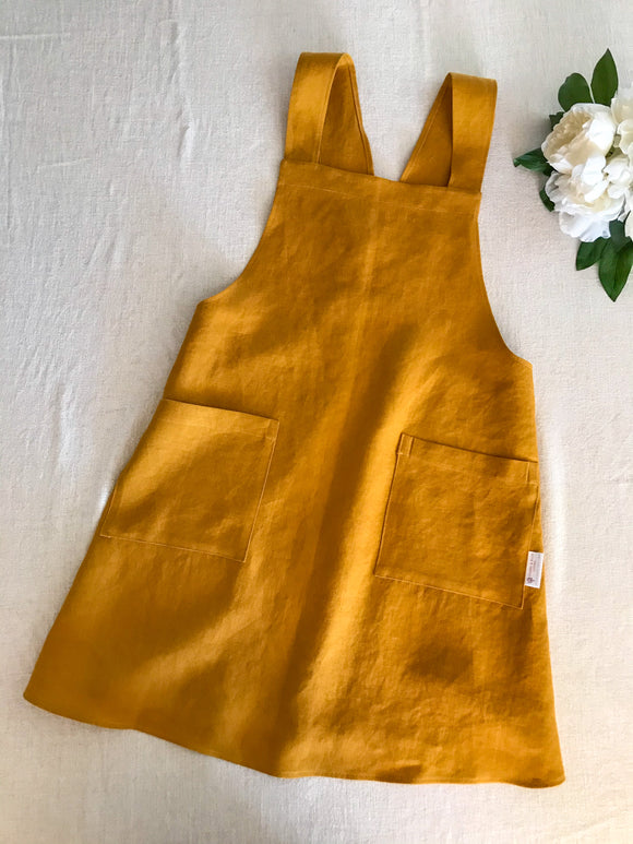 Pure Linen Cross-Back Apron - Yellow Clay