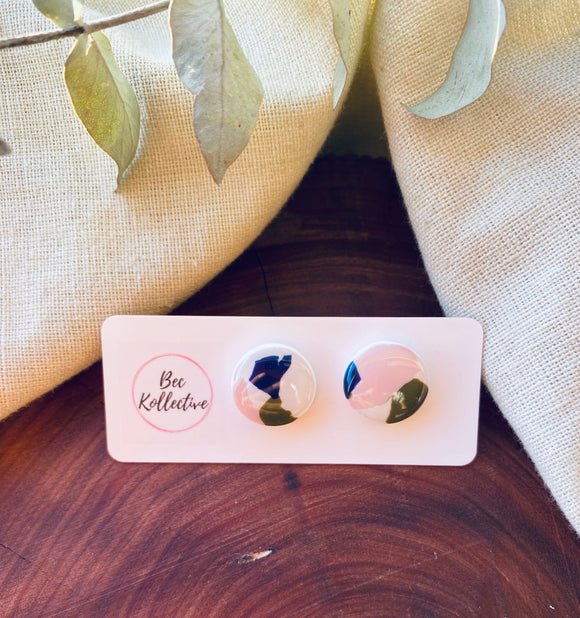 15mm Studs - Olive, Dusty Pink and Navy