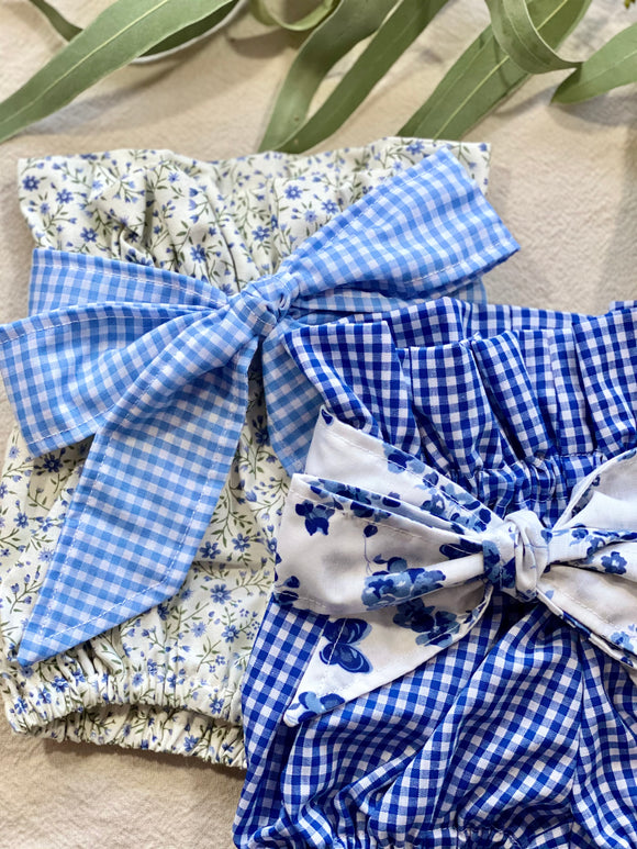 Paper Bag Bloomers with Sash - Blue Gingham