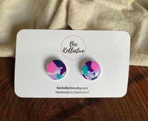 15mm Studs - Pink, Purple, Teal & Navy