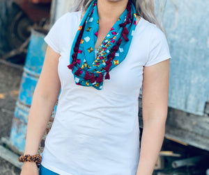 Patterned Teal Scarf