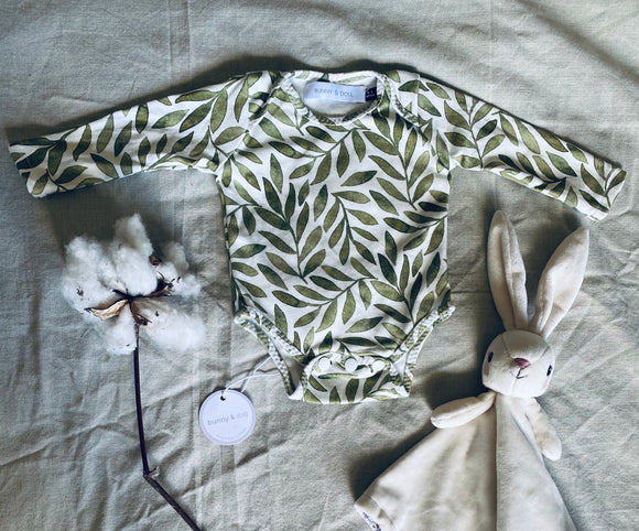 Organic Cotton Long Sleeve Bodysuit - Olive Leaf