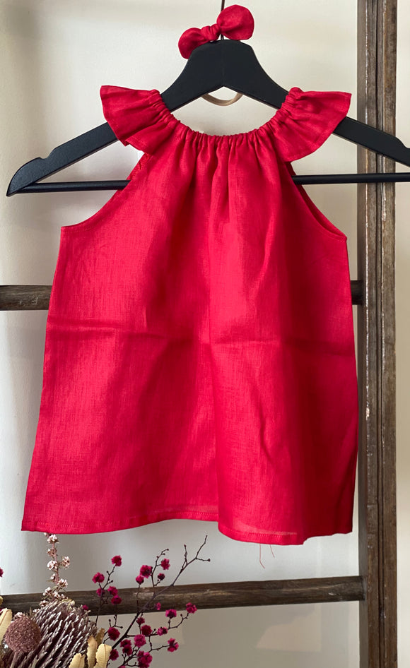 Red Linen Peasant Dress
