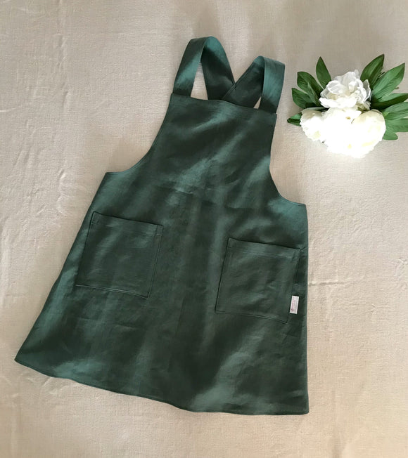 Pure Linen Cross-Back Apron - Forest Green