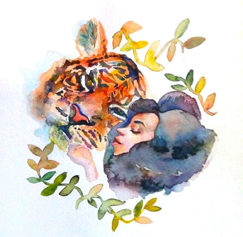 Watercolour tiger and girl, The Visionary ART Workshop Singapore