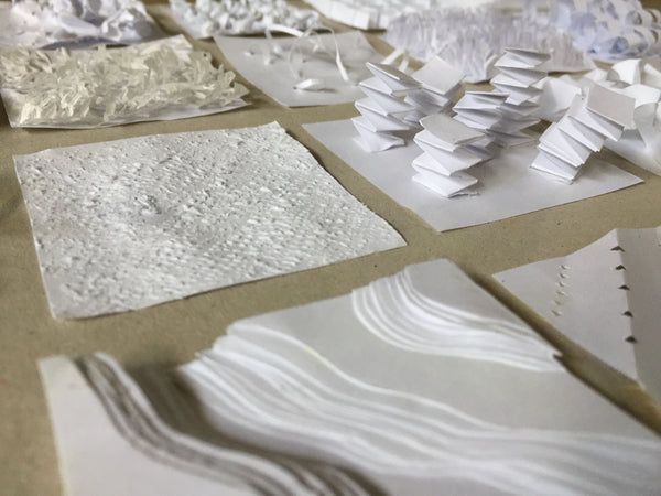Paper Texture Sculpture Relief Experiments by Julia Kong