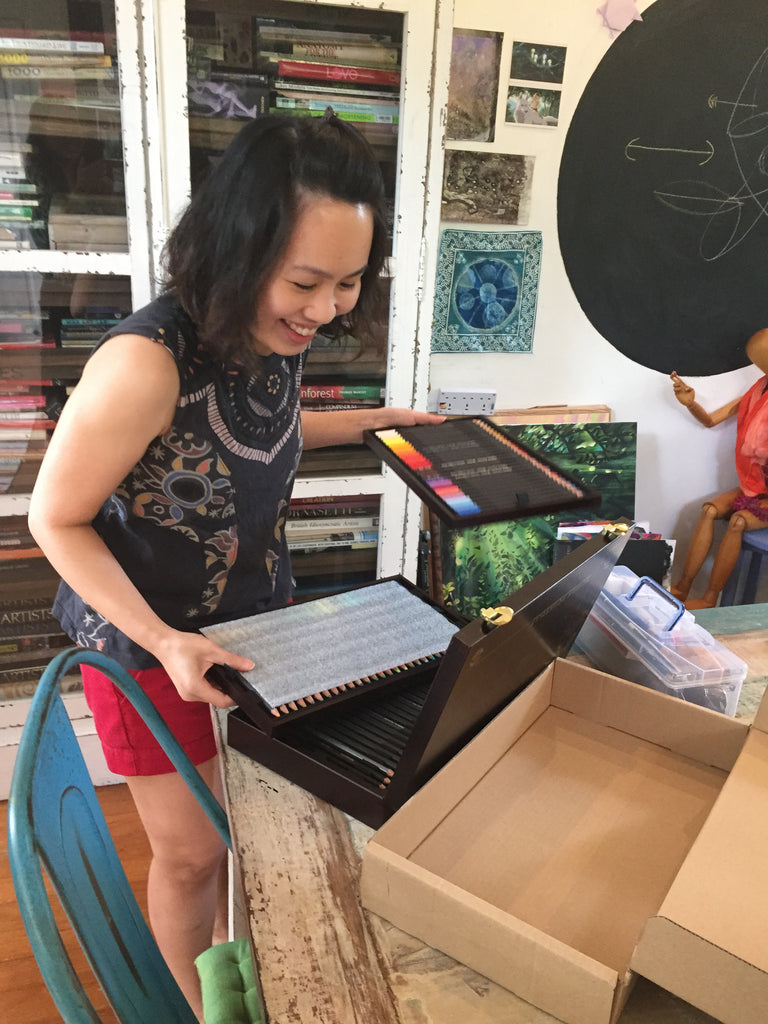 Yuyi's new set of colour pencils, art class The Visionary ART Workshop Singapore