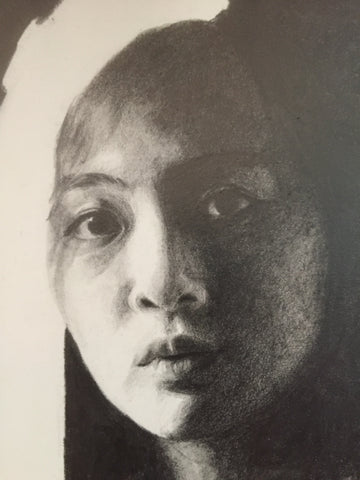 Self portrait in pencil by Ang Min Wei, The Visionary ART Workshop Singapore