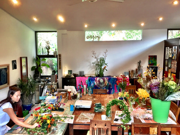 Flower arranging at art class The Visionary ART Workshop Singapore