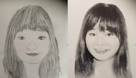 Before and after art class at The Visionary ART Workshop. Julia Kong, self portrait in pencil.