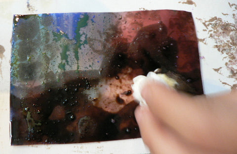 Experimenting with oil and water based mediums.