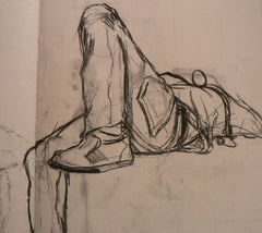 Sketch of figure in charcoal by student