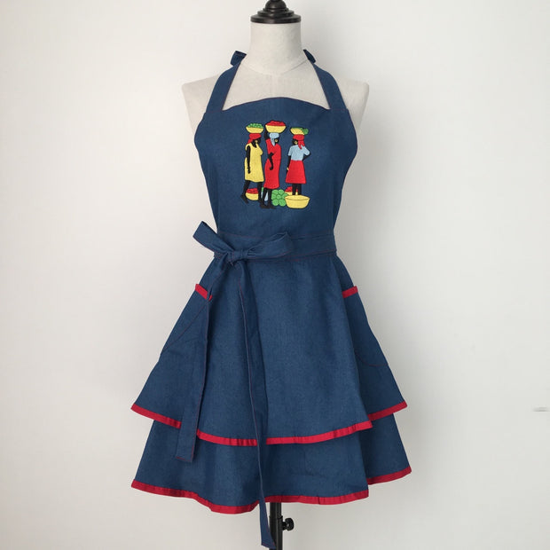 Ladies Denim Ruffled Apron