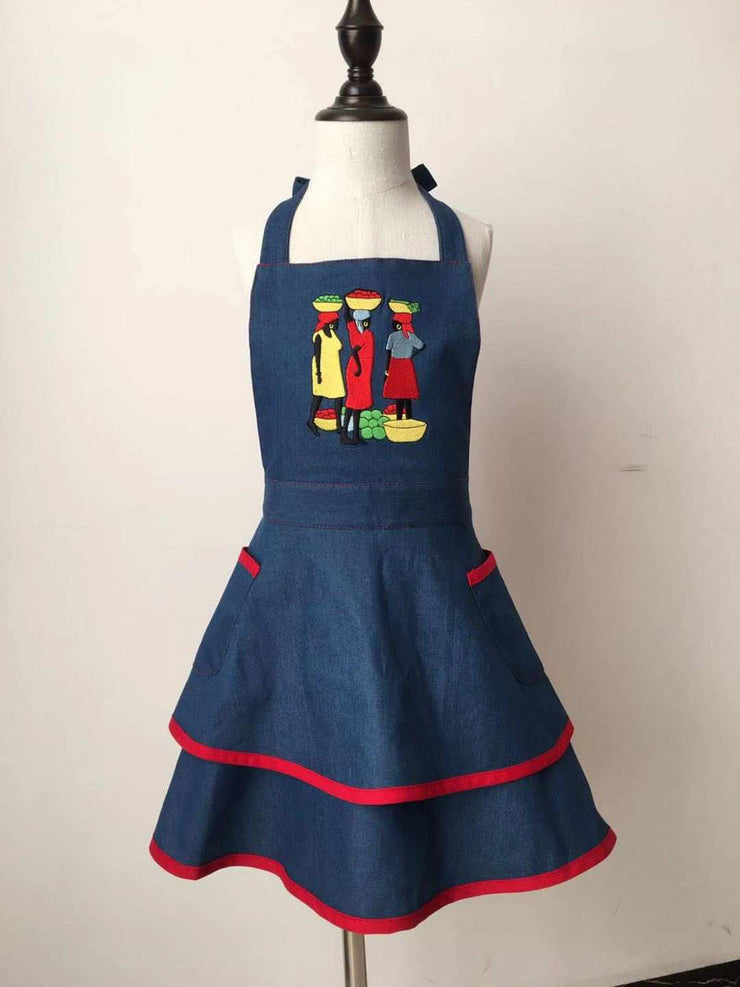 Girls Denim Ruffled Apron