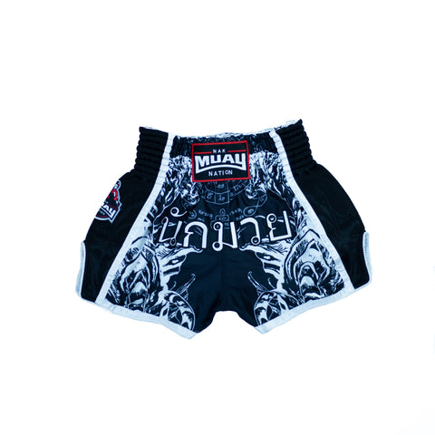 Nak Muay Nation Shorts (Black w/ White Trim)