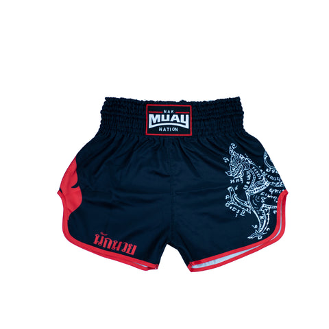 Nak Muay Nation Shorts (Black w/ Red Trim)