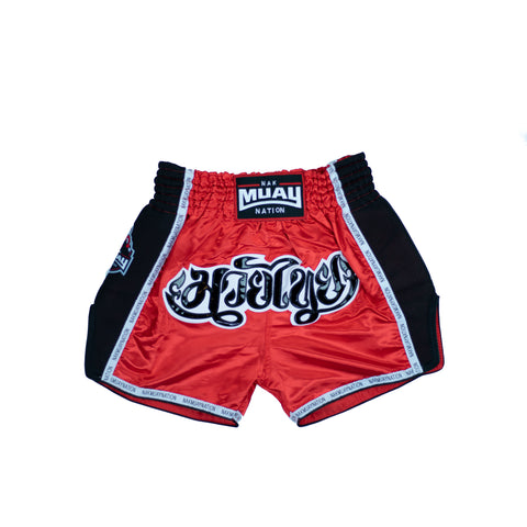 Nak Muay Nation Shorts (Red w/ Black & White)