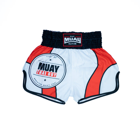 Muay Thai Guy Shorts (White 3)