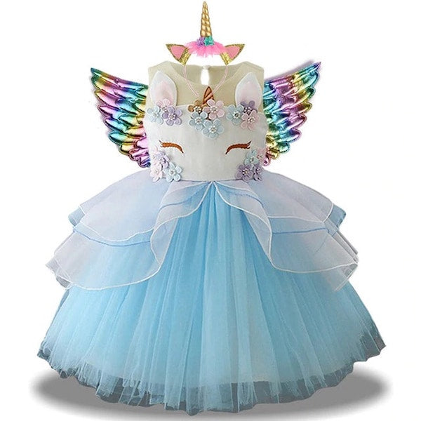 Blue Unicorn Dress Costume for Toddlers
