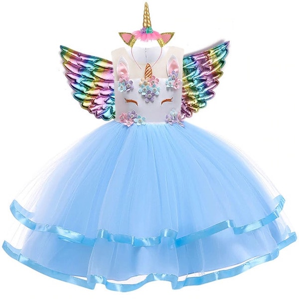 Blue Unicorn Dress for Girls Toddlers