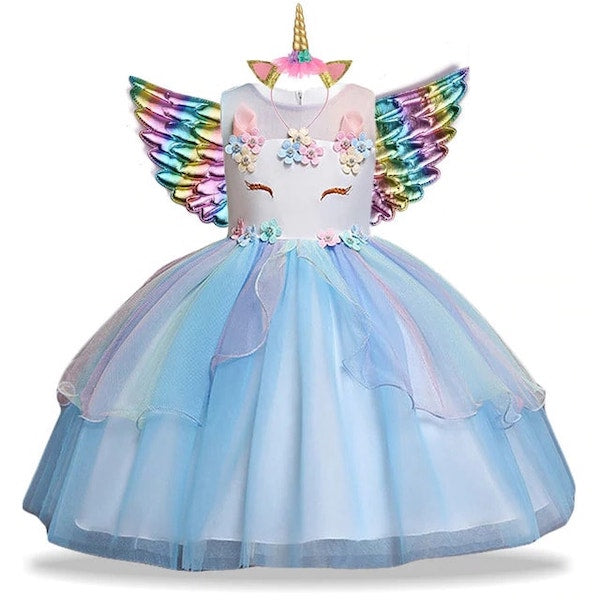 Blue Unicorn Dress Tutu for Kids