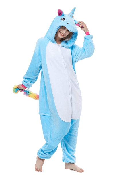 Blue Unicorn Pajama Onesie for Women