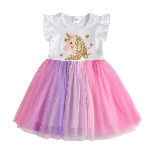 Colorful Unicorn Dress Baby Girl Birthday
