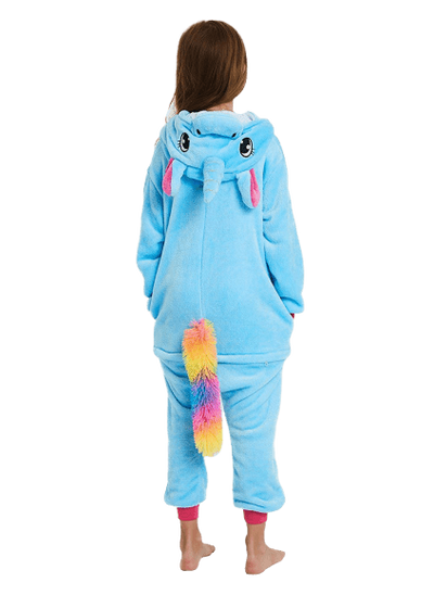 Cute Blue Unicorn Onesie for Kids Back