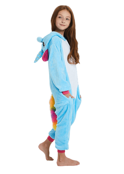 Cute Blue Unicorn Onesie for Kids Profile