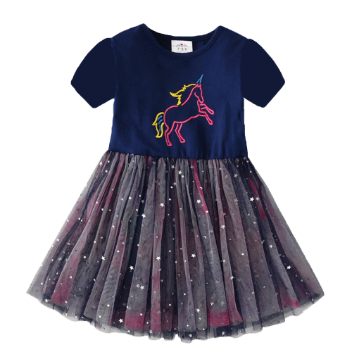 Fairy Blue Unicorn Girls Dress