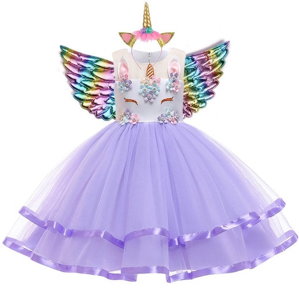 Fairy Purple Unicorn Dress for Kids
